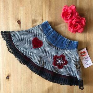 🌹HP🌹 Lipstik NWT jean skirt w/ red velvet